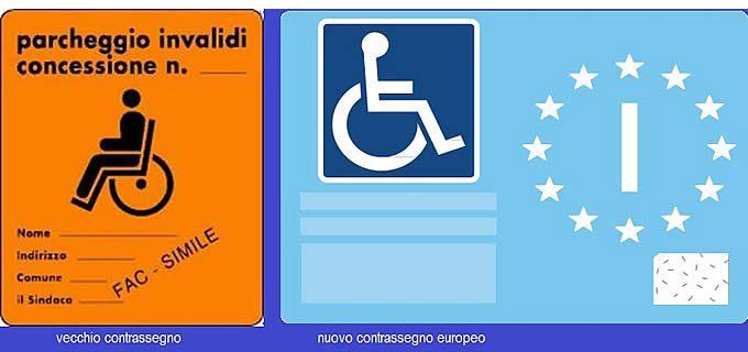 contrassegno disabili nuovo e vecchio