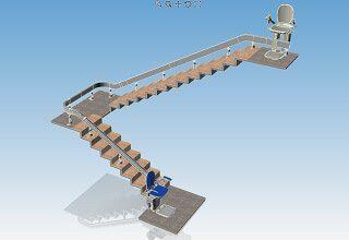 Progettazione montascale a 2 rampe con Ichnos-Draw