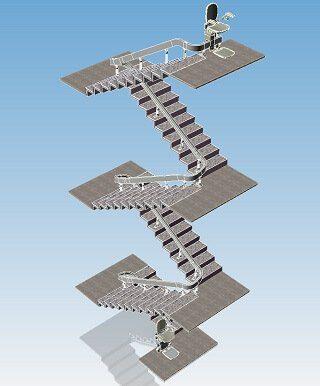 progettazione montascale sei rampe quattro fermate
