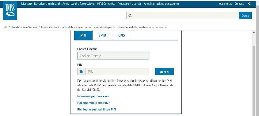Login portale INPS per la richiesta accompagnamento legge 104